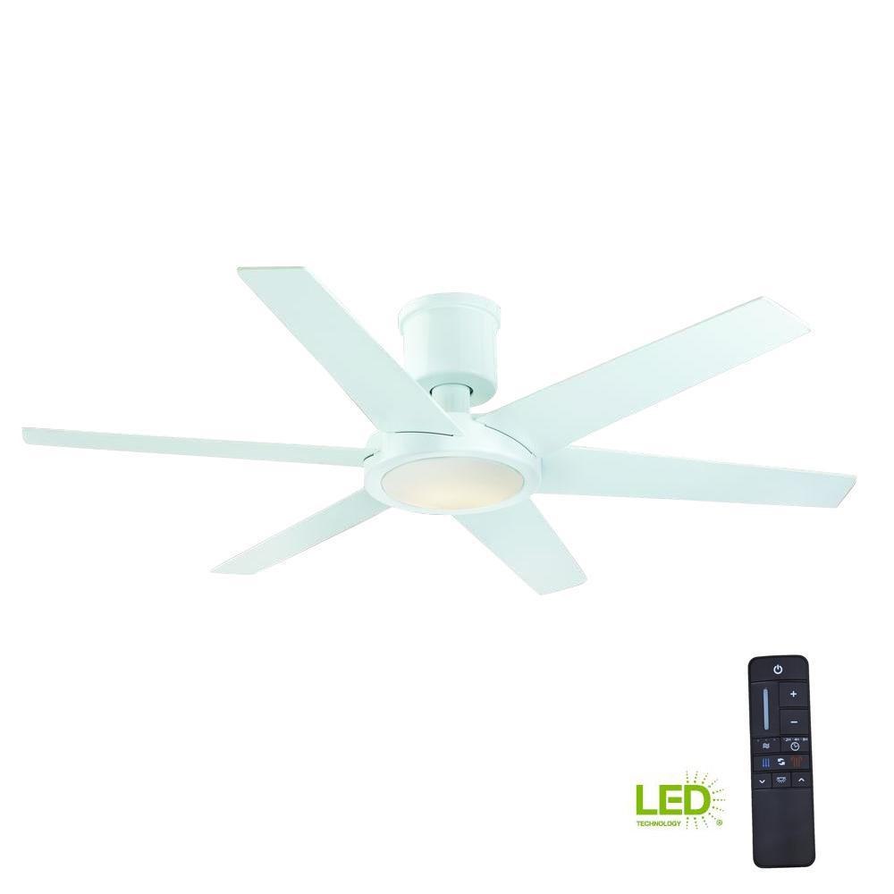 Home Decorators Collection Clermont 52 in. LED Indoor Glossy White Ceiling Fan with Light Kit and Remote Control