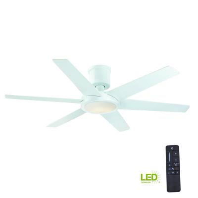 Clermont 52 in. LED Indoor Glossy White Ceiling Fan with Light Kit and Remote Control