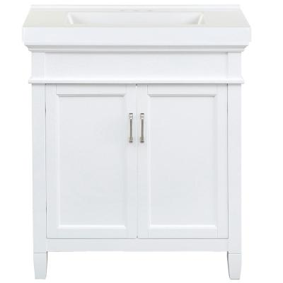 Ashburn 31 in. W x 22 in. D Bath Vanity in White with Cultured Marble Vanity Top in White with White Sink