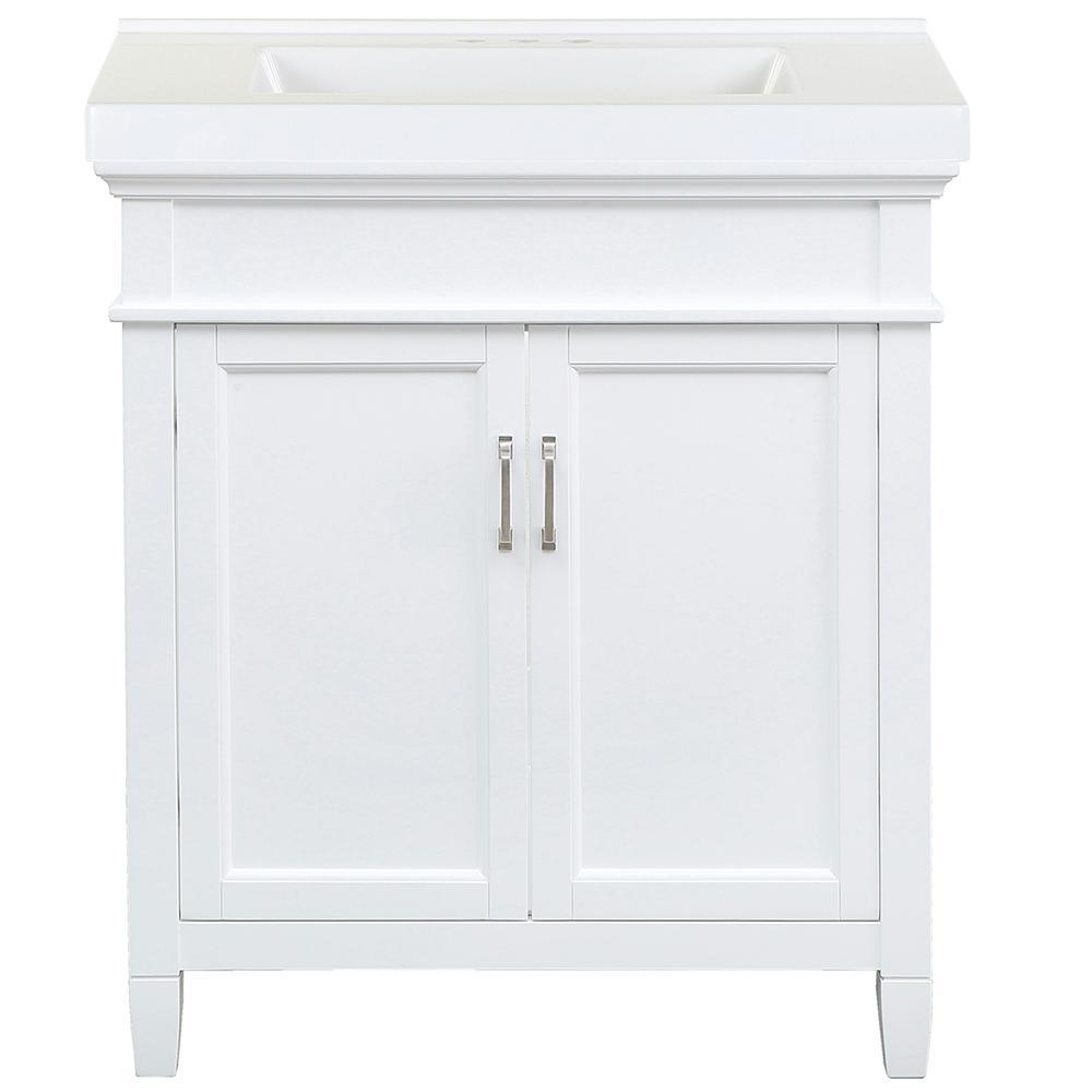 Ashburn 31 in. W x 22 in. D Bath Vanity in White with Cultured Marble Vanity Top in White with White Sink