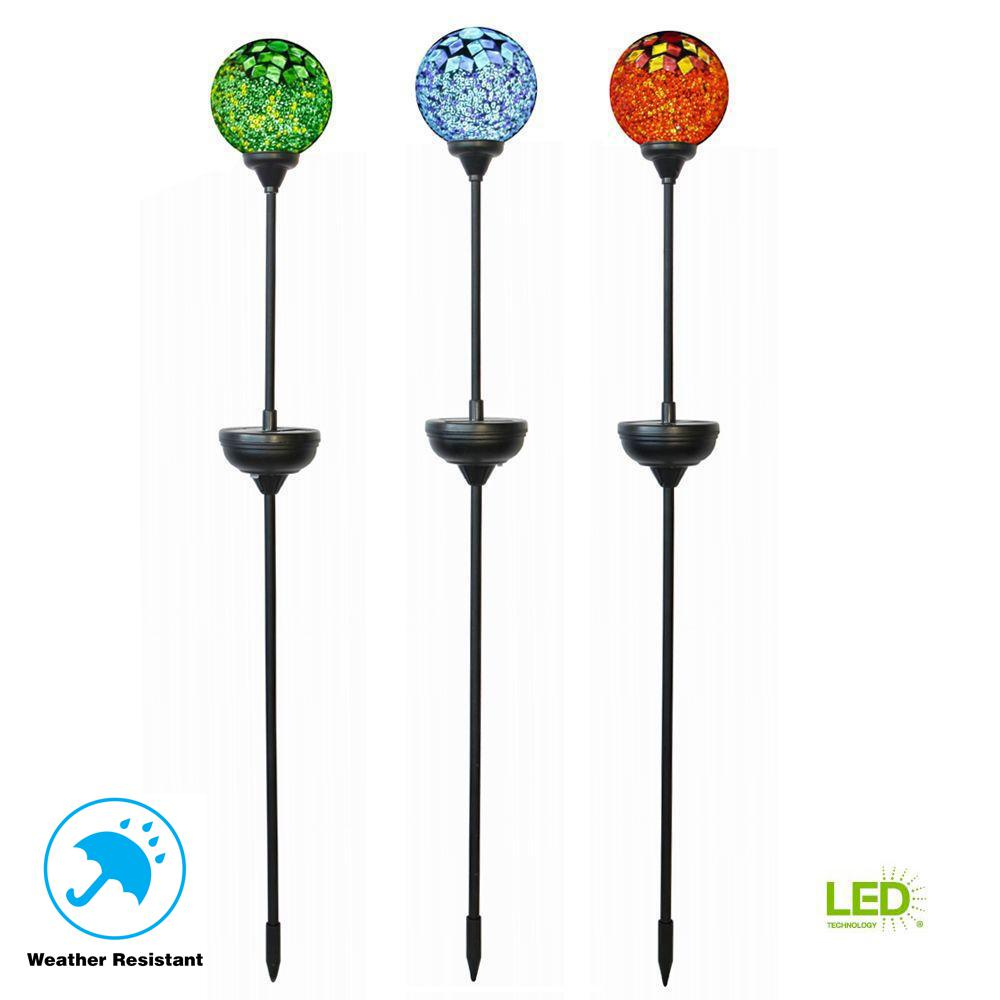 Solar Integrated Led Jewelry Multi Colored Mosaic Patterned Globe Pathway Stake Light 3 Pack