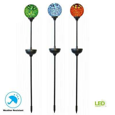 32 in. Solar Integrated LED Jewelry Multi-Colored Mosaic Patterned Globe Pathway Stake Light (3-Pack)