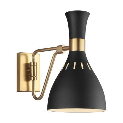 ED Ellen DeGeneres Crafted by Generation Lighting Joan 6.25 in. W 1-Light Matte Black and Burnished Brass Swivel Sconce