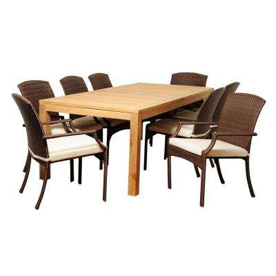 Royce 9-Piece Wood Outdoor Dining Set with Beige Cushions