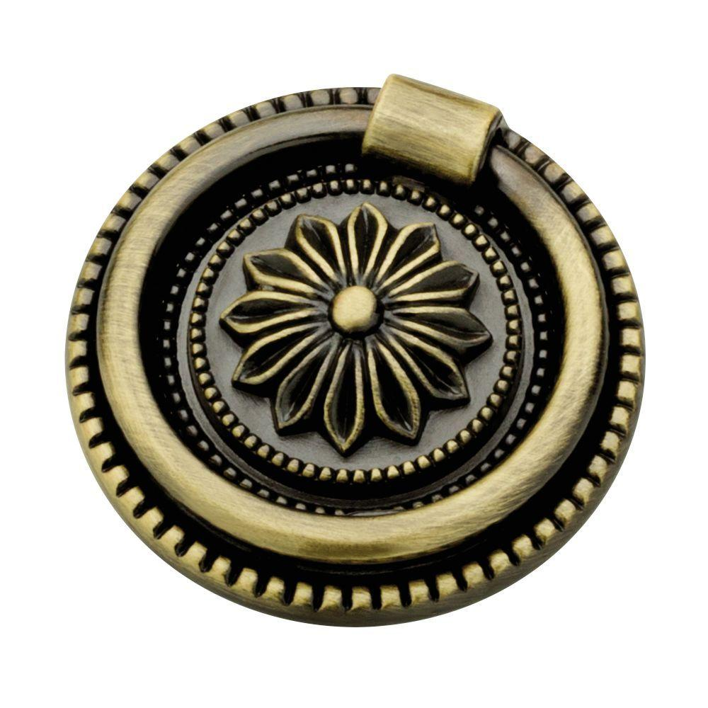 Exceptional (44mm) Antique Brass Round Ring Pull