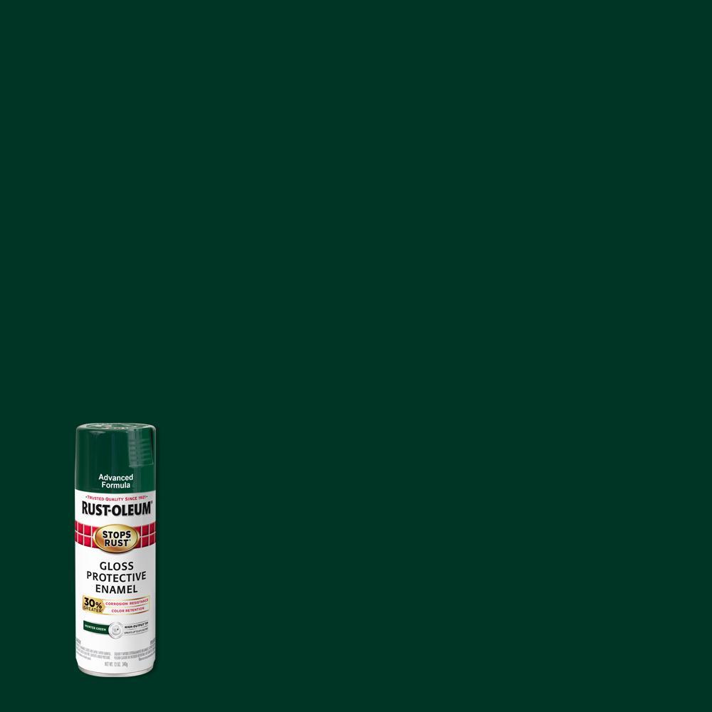 Rust-Oleum Stops Rust 12 oz. Advanced Protective Enamel Gloss Hunter Green Spray Paint (6 Pack)
