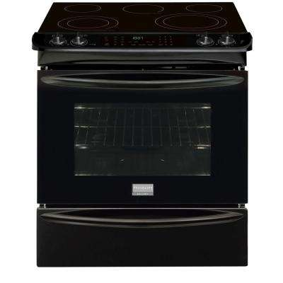 30 in. 4.6 cu. ft. Slide-In Electric Range with Self-Cleaning Convection Oven in Black