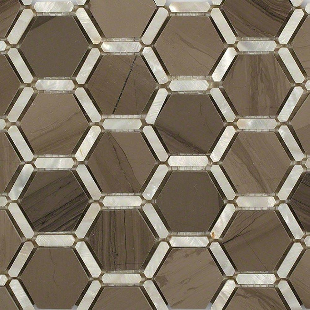 Ivy Hill Tile Ambrosia Athens Gray 12 in. x 12 in. x 10 mm Polished Pearl and Marble Mosaic Tile