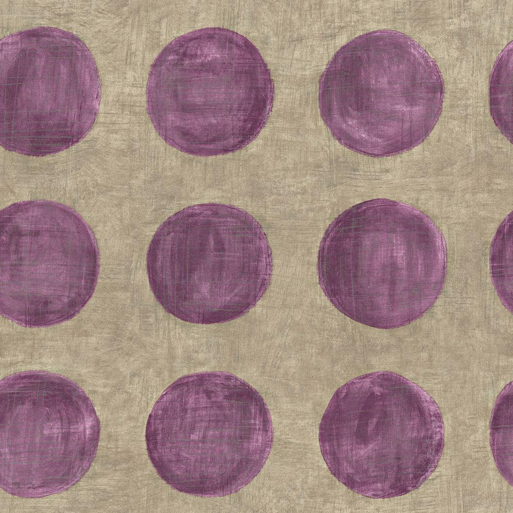 The Wallpaper Company 56 sq. ft. Purple Large Polka Dot on a Grey Taupe Ground Wallpaper