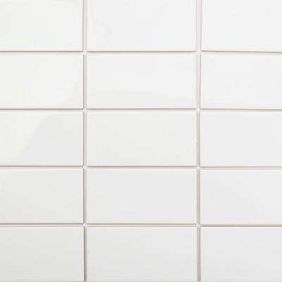 Essential White Beveled 3 in. x 6 in. x 6mm Polished Ceramic Subway Wall Tile (90-Piece) (10.89 sq. ft./case)