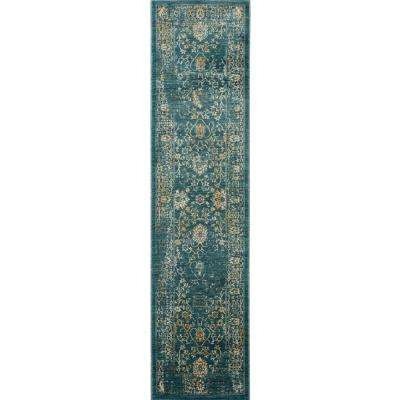 Evoke Light Blue/Beige 2 ft. x 10 ft. Runner Rug