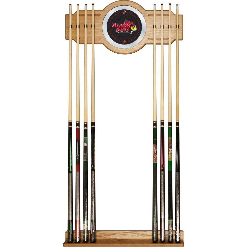 Illinois State University 30 in. Wooden Billiard Cue Rack with Mirror