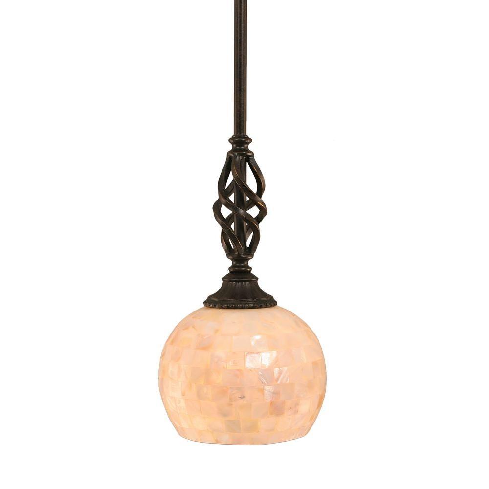 Berna 1-Light Dark Granite Pendant with Seashell Glass