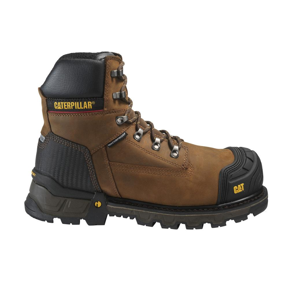 dd198d9a099 CAT Footwear Men's Size 9 Dark Brown Grain Leather Excavator Waterproof  Composite Toe Work Boots