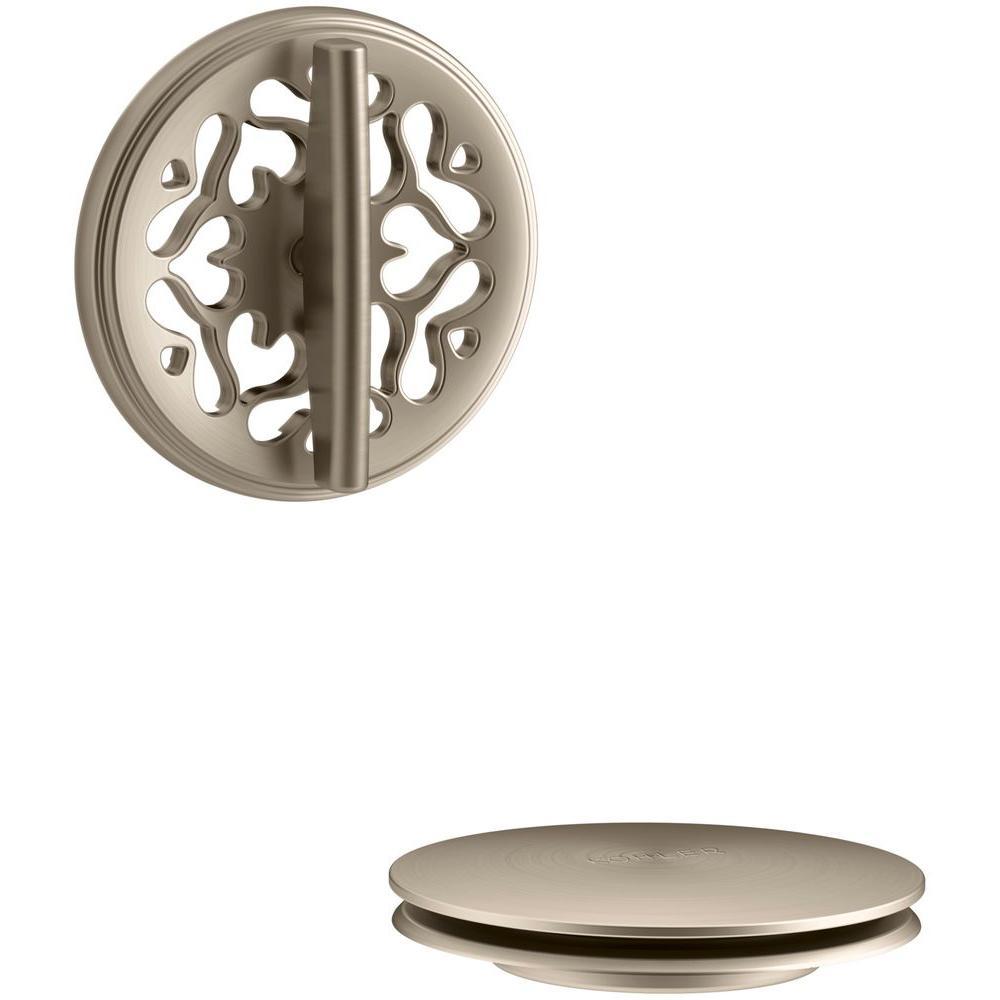 Kohler pureflo bath drain trim vibrant brushed bronze k for Vibrant brushed bronze bathroom lighting