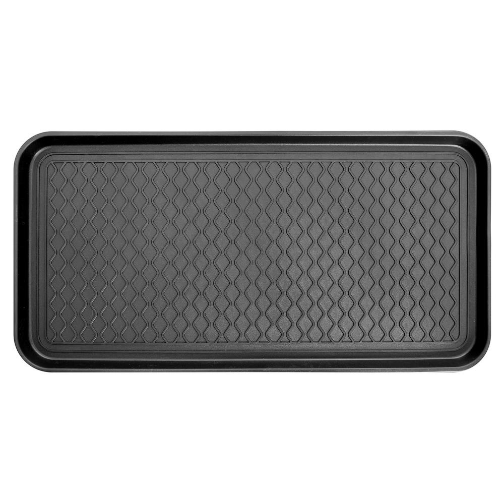 Ottomanson Black 15 in. x 30 in. Polypropylene Utility Boot Tray