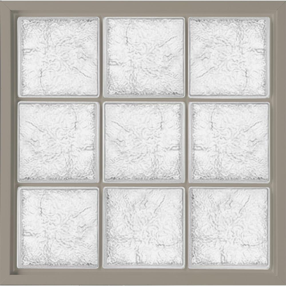Hy-Lite 39 in. x 39 in. Glass Block Fixed Vinyl Windows Ice Pattern Glass - Driftwood