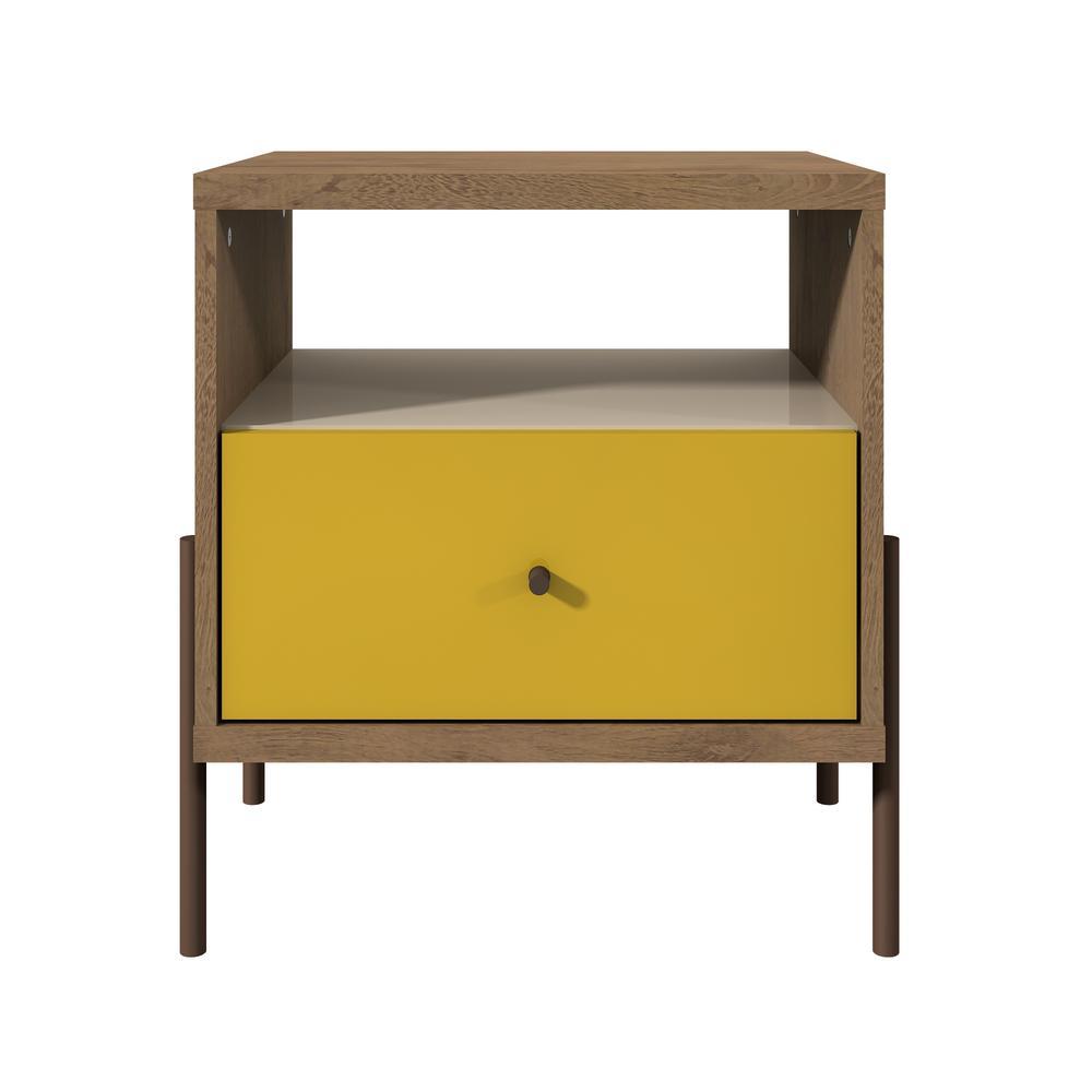 Joy 1-Drawer Yellow, Off White, and Oak Nightstand