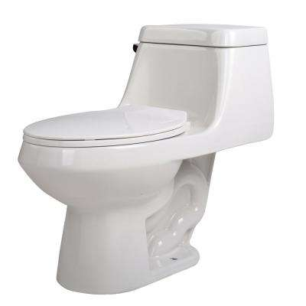 Zeus 1-Piece 1.28 GPF Single Flush Elongated Toilet in White