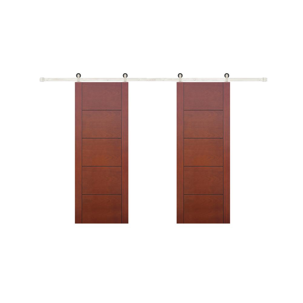 Pacific Entries 60 In X 80 In 5 Panel Prefinished Flush Mahogany