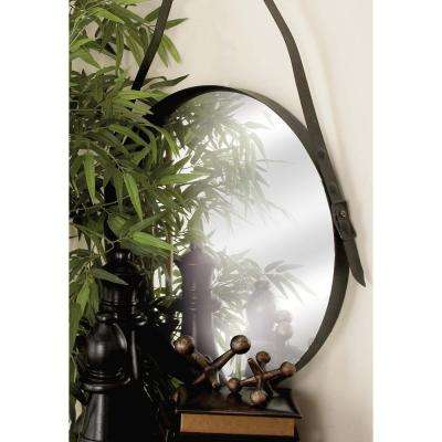 35 in. x 24 in. Iron Round-Shaped Black Wall Mirror with Hanging Strap