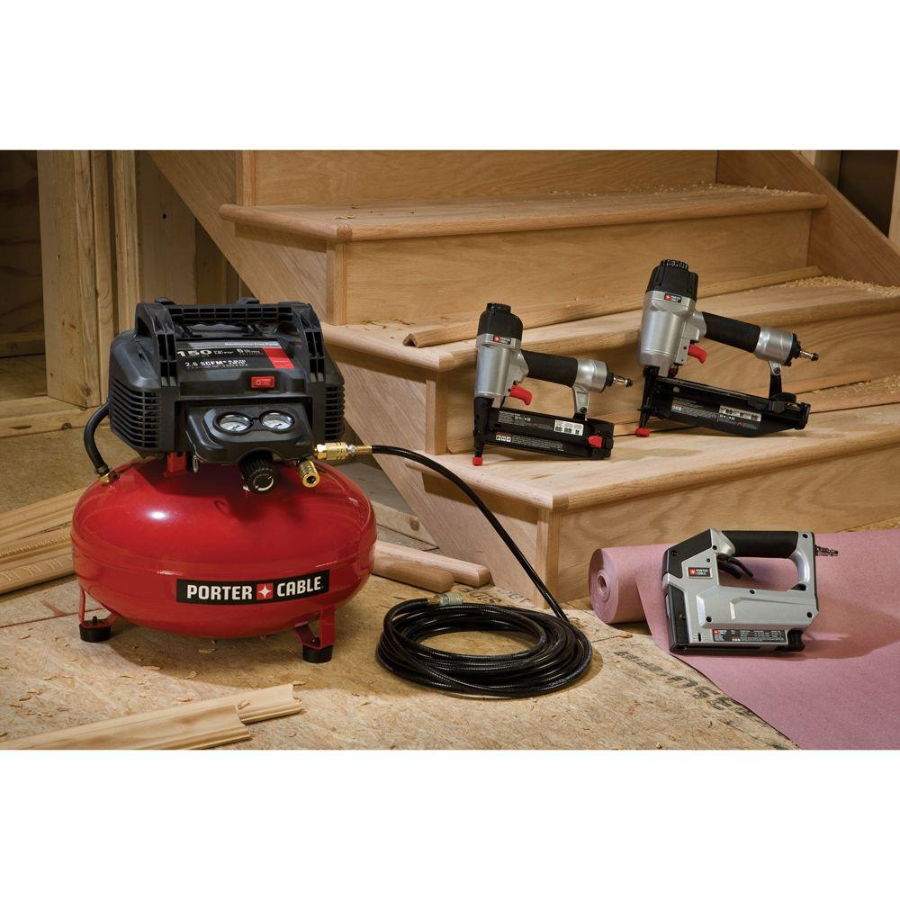 Porter Cable 6 Gal 150 Psi Portable Electric Air Compressor 16 Gauge Nailer 18 Gauge Nailer And 3 8 In Stapler Combo Kit 3 Tool
