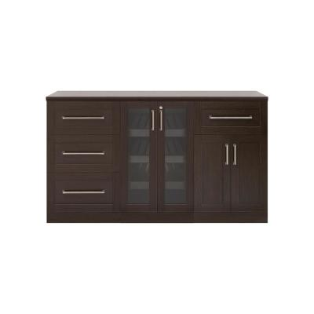 Home Bar 21 in. Espresso Cabinet Set (4-Piece)
