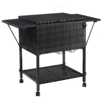 Portable Rattan Cooler Cart Trolley Outdoor Patio Ice Drink Serving Cart