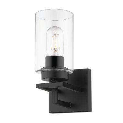 Tribeca 4.5 in. 1-Light Black with Black Accents Bath Vanity Light