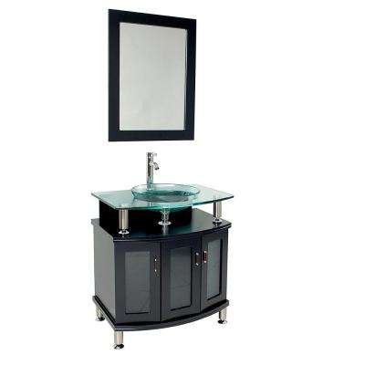 Contento 30 in. Vanity in Espresso with Glass Vanity Top in Espresso with Clear Basin and Mirror