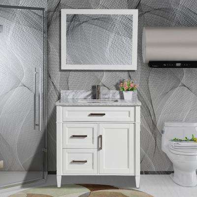 Savona 36 in. W x 22 in. D x 36 in. H Vanity in White with Single Basin Vanity Top in White and Grey Marble and Mirror