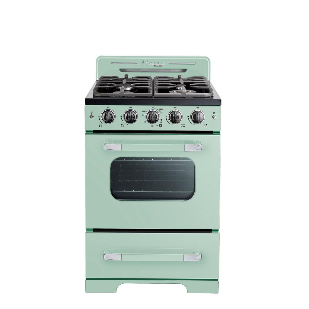 Unique Classic Retro 24 in. 2.9 cu. ft. Gas Range with Convection Oven in Summer Mint Green