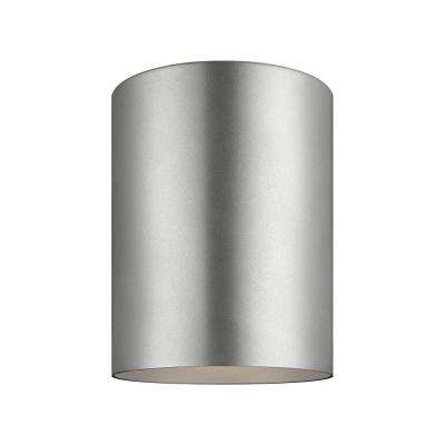 Outdoor Cylinders 6.625 in. Painted Brushed Nickel Integrated LED Outdoor Ceiling Flushmount