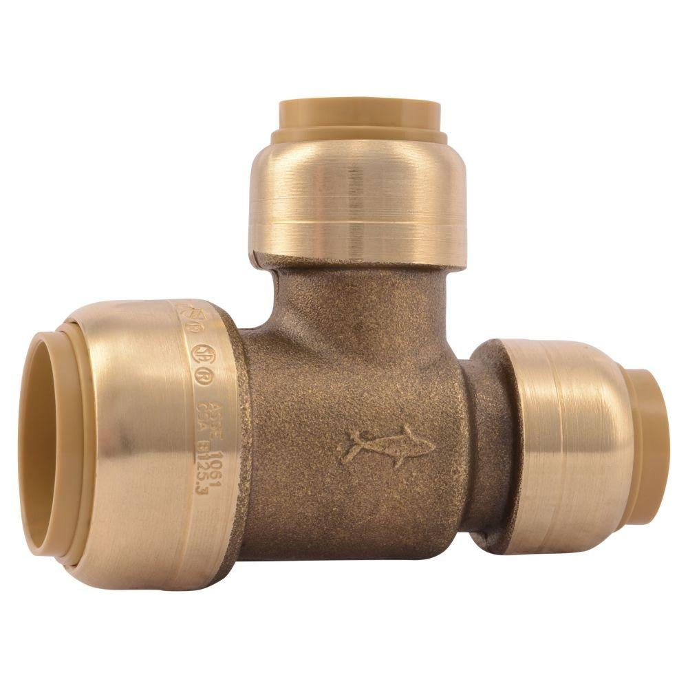 3/4 in. x 1/2 in. x 1/2 in. Brass Push-to-Connect Reducer Tee ...