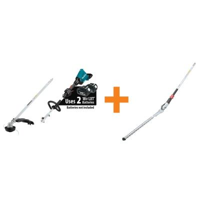 18-Volt X2 (36V) LXT Couple Shaft Power Head (Tool Only) with String Trimmer and Articulating Hedge Trimmer Attachment
