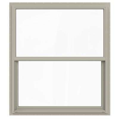 48 in. x 60 in. V-4500 Series Desert Sand Single-Hung Vinyl Window with Fiberglass Mesh Screen
