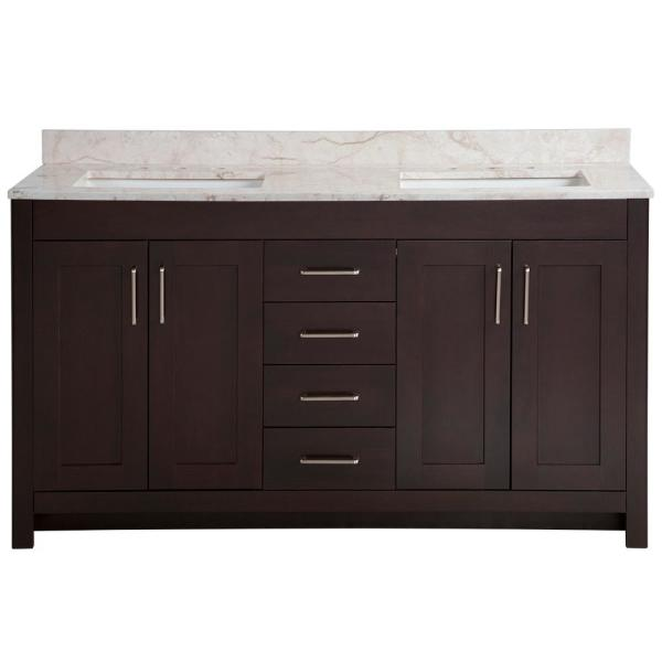 Westcourt 61 in. W x 22 in. D Bath Vanity in Chocolate with Stone Effect Vanity Top in Dune with White Sink