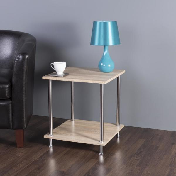 AVF Whitewashed Oak and Chrome 2-Tier Square Side Table / Lamp Table / End Table