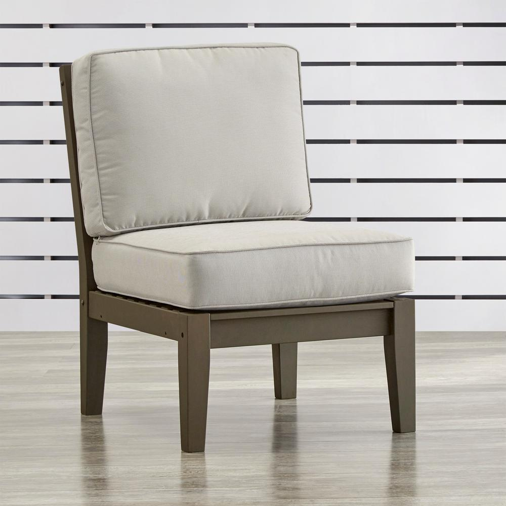 Verdon Gorge Gray Oiled Wood Outdoor Extension Lounge Chair with Beige