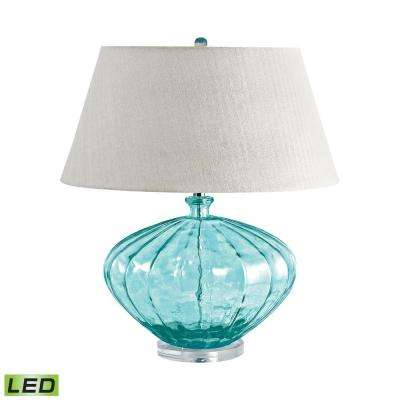 25 in. Blue Recycled Fluted Glass Urn LED Table Lamp