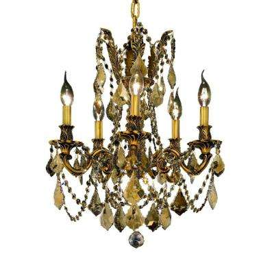 5-Light French Gold Chandelier with Golden Teak Smoky Crystal