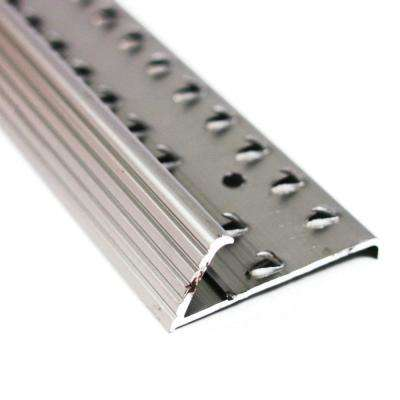 1.38 in. x 96 in. Pewter Fluted Aluminum Carpet Gripper with Teeth