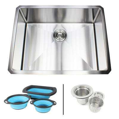 Undermount 16-Gauge Stainless Steel 26 in. x 20 in. x 10 in. Single Bowl Kitchen Sink Combo