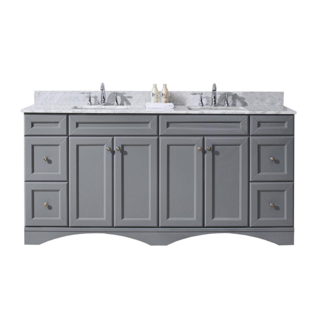 Virtu USA Talisa 72 in. W Bath Vanity in Gray with Marble Vanity Top in White with Square Basin