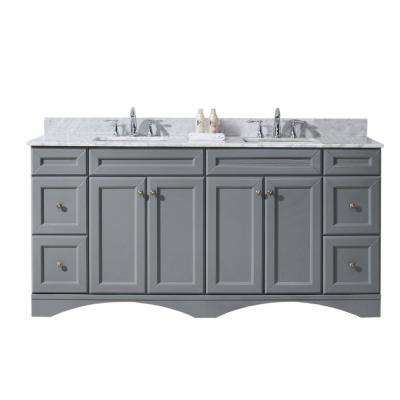 Talisa 72 in. W Bath Vanity in Gray with Marble Vanity Top in White with Square Basin
