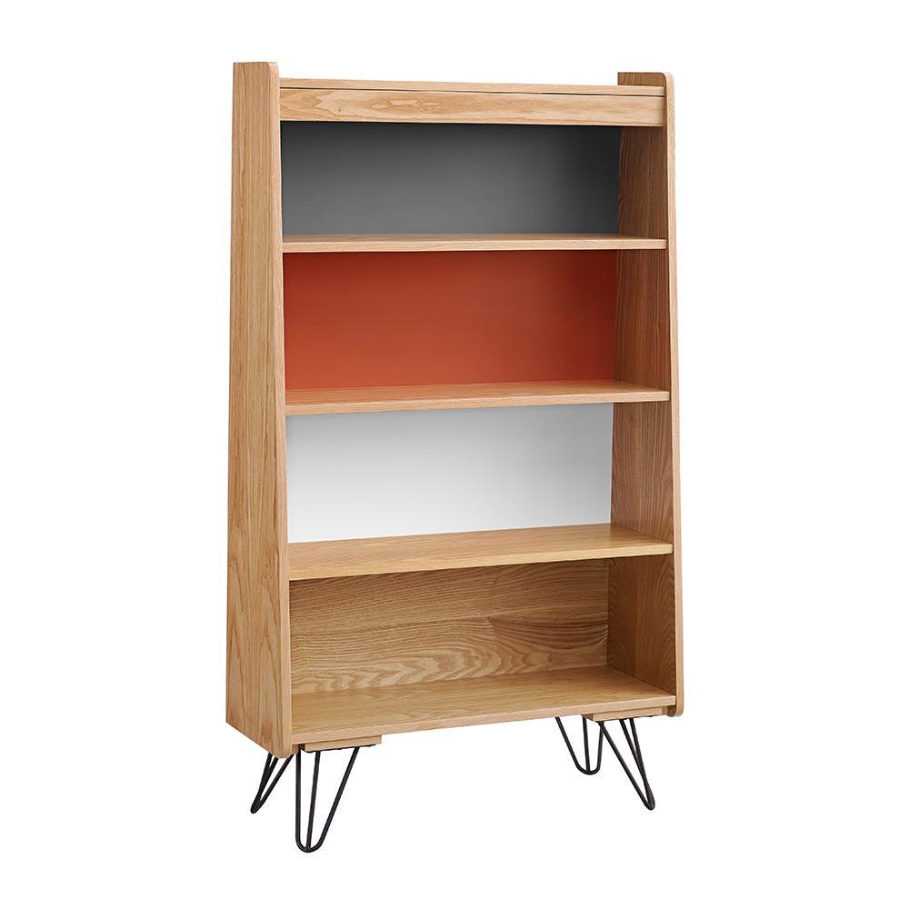Linon Home Decor Marshall Natural Charcoal Orange White Bookcase
