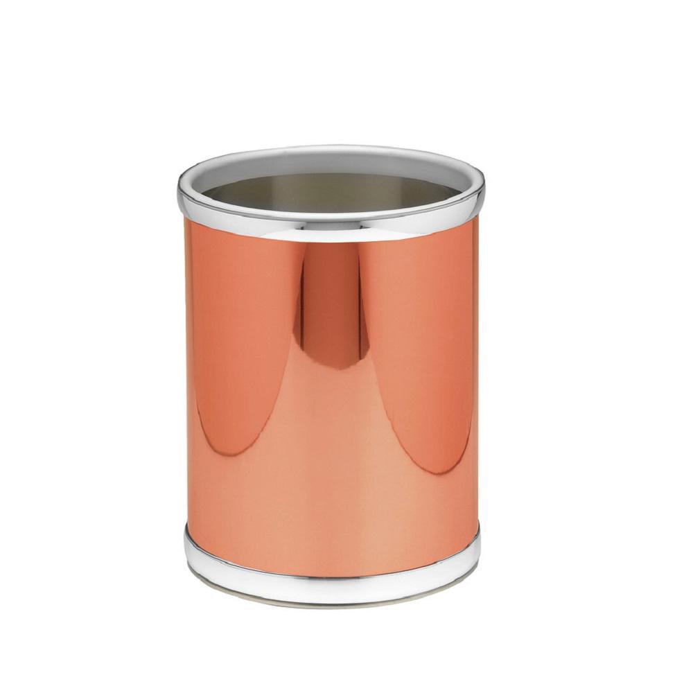 Mylar 8 qt. Polished Copper and Chrome Round Waste Basket