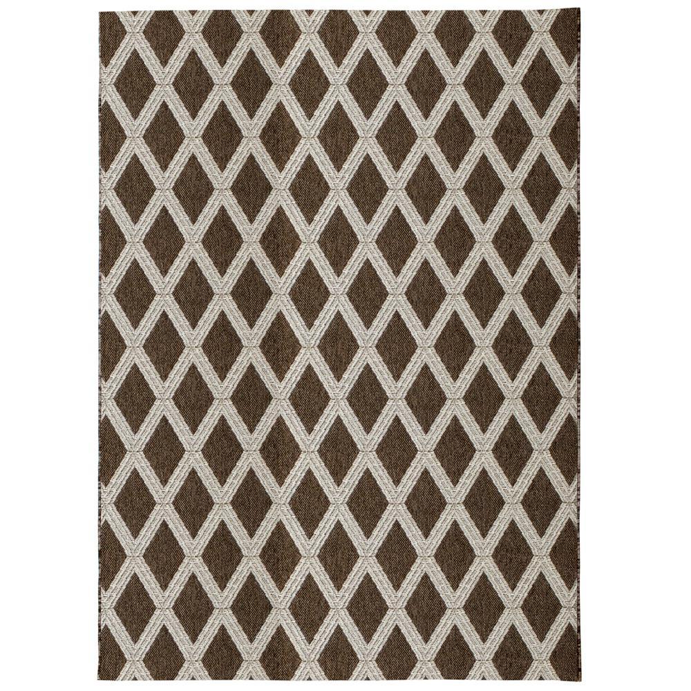 Diamond Brown Beige 8 Ft X 10 Indoor Outdoor Area Rug