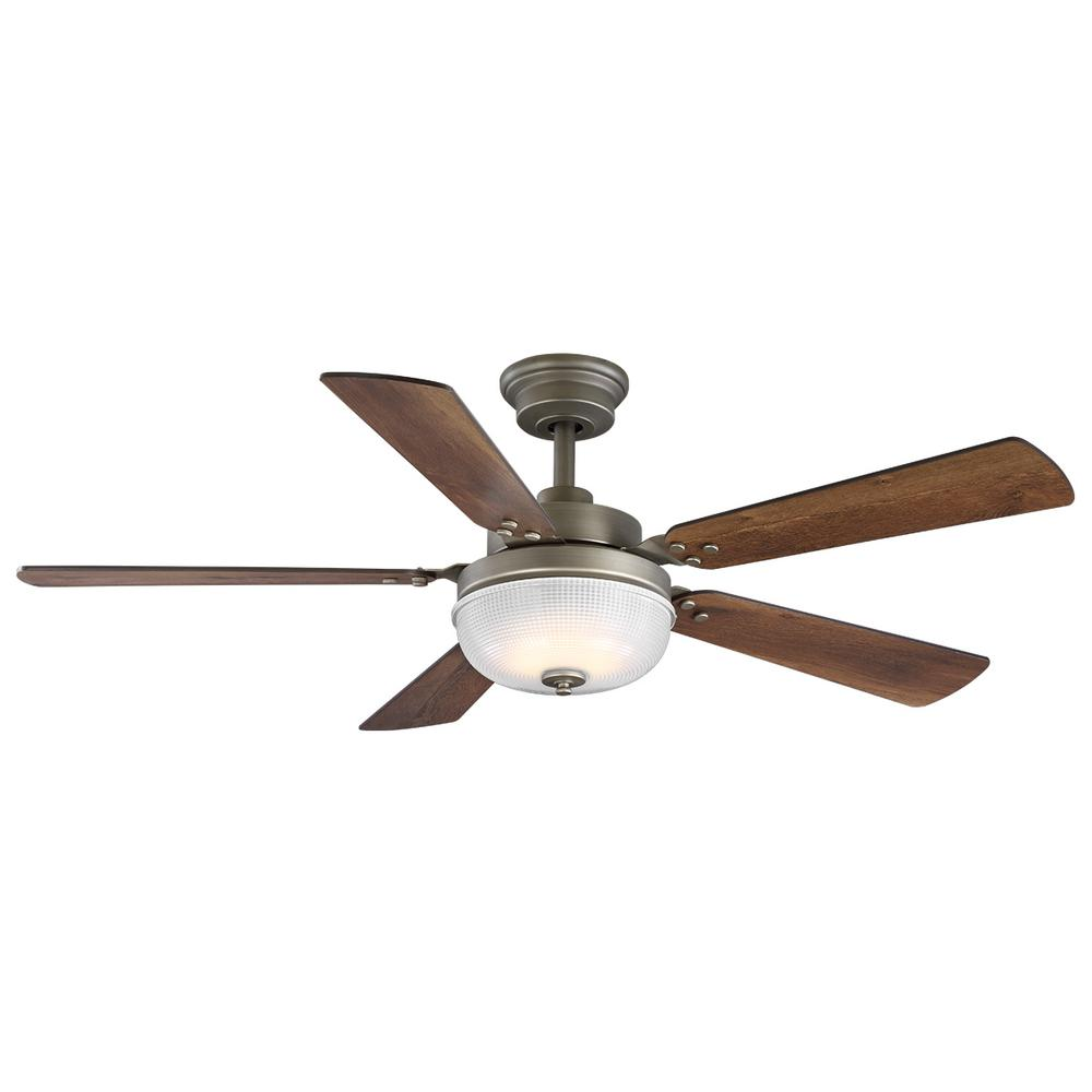 Progress Lighting Archie 52 in. Integrated LED Indoor Antique Nickel Dual Mount Ceiling Fan with Light Kit and Remote Control