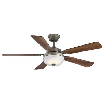 Archie 52 in. Integrated LED Indoor Antique Nickel Dual Mount Ceiling Fan with Light Kit and Remote Control